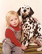 Young Bettina with Granny's Dalmatian